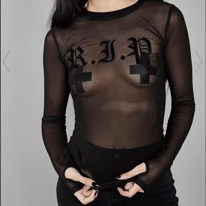 WIDOW rest in paradise mesh top